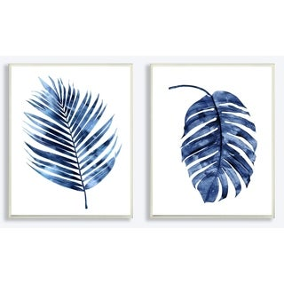 The Stupell Home Décor Collection Indigo Dark Blue Palm Frond Plant Duo 2pc Wall Plaque Art , Proudly Made in USA - 10 x 15