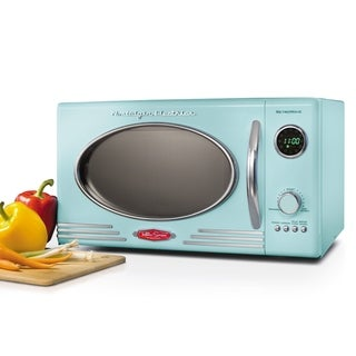 Nostalgia RMO4AQ Retro 0.9 Cubic Foot Microwave Oven, Aqua - N/A