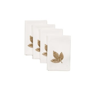 Autumn Leaves 20 by 20-Inch Napkins, Set of 4, White