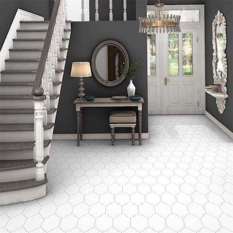 SomerTile 6.375x12.875-inch Textilis Provenzal Basic White Porcelain Floor and Wall Tile (20 tiles/9.43 sqft.)