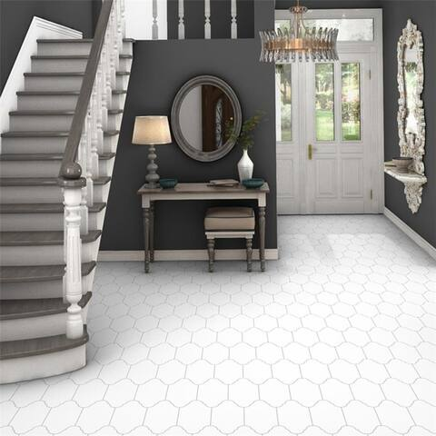 SomerTile 6.375x12.875-inch Textilis Provenzal Basic White Porcelain Floor and Wall Tile