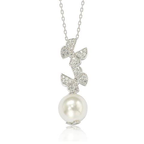 Suzy Levian Sterling Silver Pearl and White Sapphire Butterfly Pendant