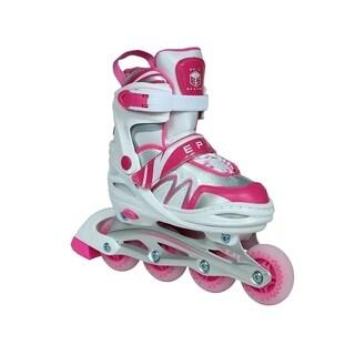 Epic Skates Pixie Adjustable Inline Roller Skates W/LED Light up Wheels, White/Pink