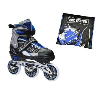 Epic Shield Black & Blue Indoor / Outdoor 90mm 3-Wheel Tri-Skate Inline Buindle