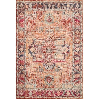 Persian-inspired Red Rust/ Navy Vintage Medallion Area Rug - 1'11 x 3'