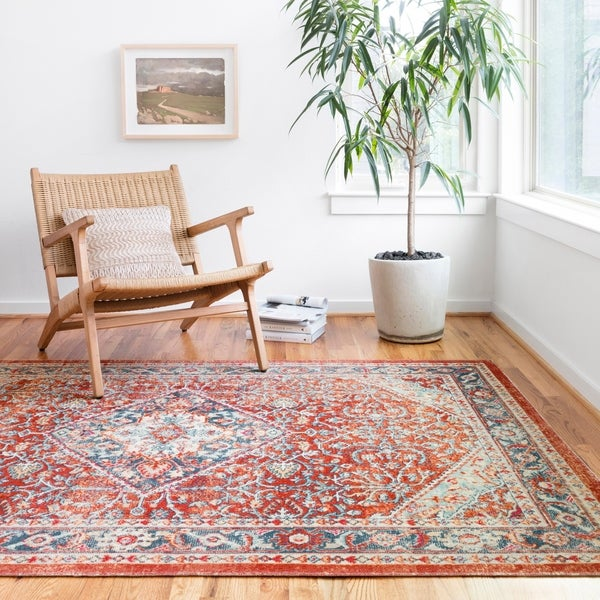 """Persian-inspired Fire Red/ Blue Vintage Distressed Area Rug - 3'10"""" x 5'7"""""""