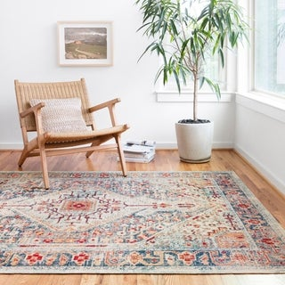 Persian-inspired Blue/ Rust Vintage Medallion Area Rug - 6'5 x 8'8