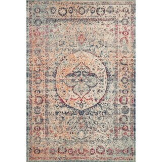 Persian-inspired Blue/ Red Multi Vintage Medallion Area Rug - 1'11 x 3'