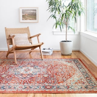"""Persian-inspired Fire Red/ Blue Vintage Distressed Area Rug - 5'2"""" x 7'7"""""""