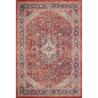 """Persian-inspired Fire Red/ Blue Vintage Distressed Area Rug - 1'11"""" x 3'"""