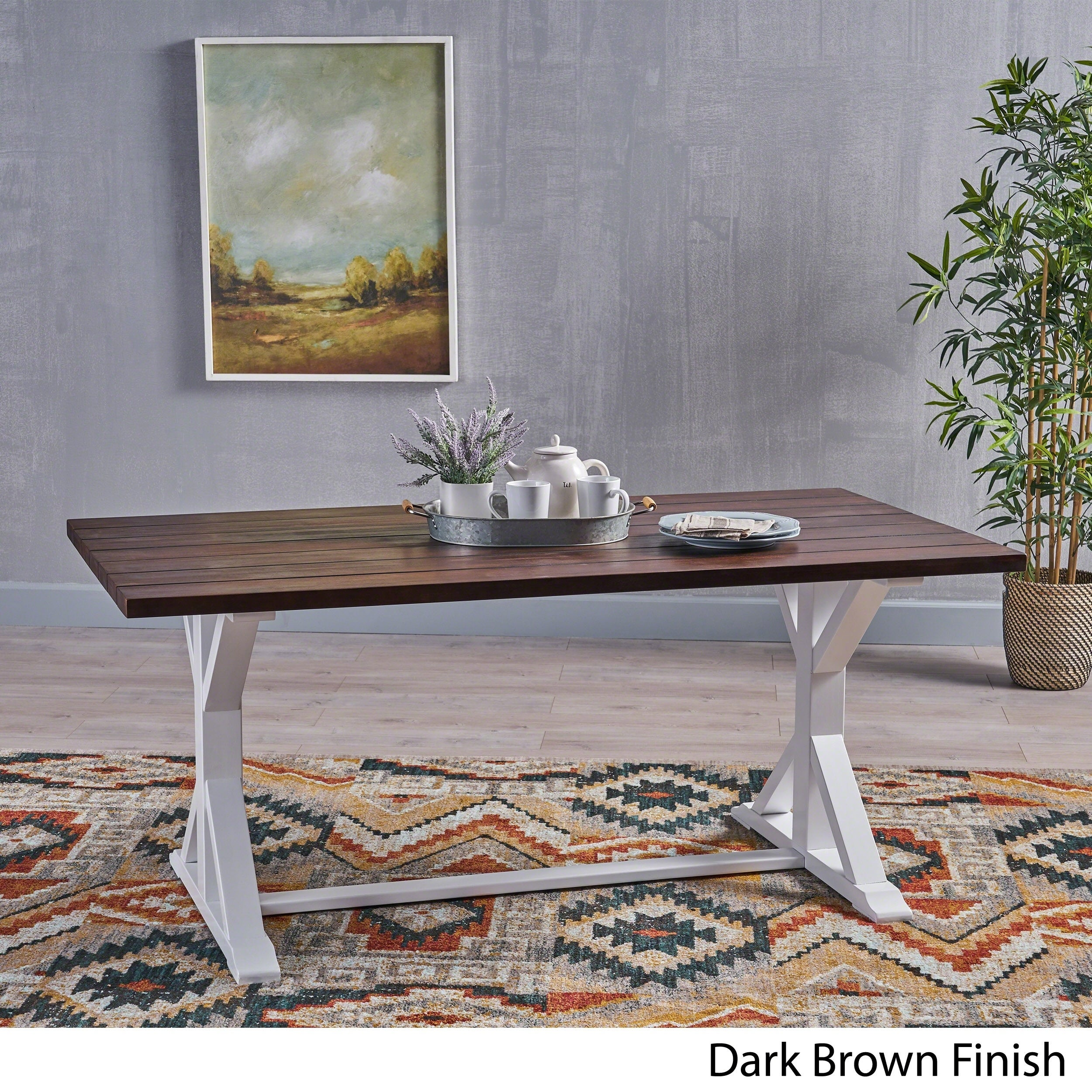Cassia Farmhouse Traditional Table Acacia Wood With Legs By Christopher Knight Home Dark Brown White Overstock 23130422