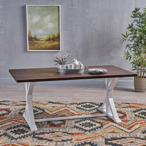 Cassia Farmhouse Traditional Table Acacia Wood with Legs by Christopher Knight Home - dark brown + white