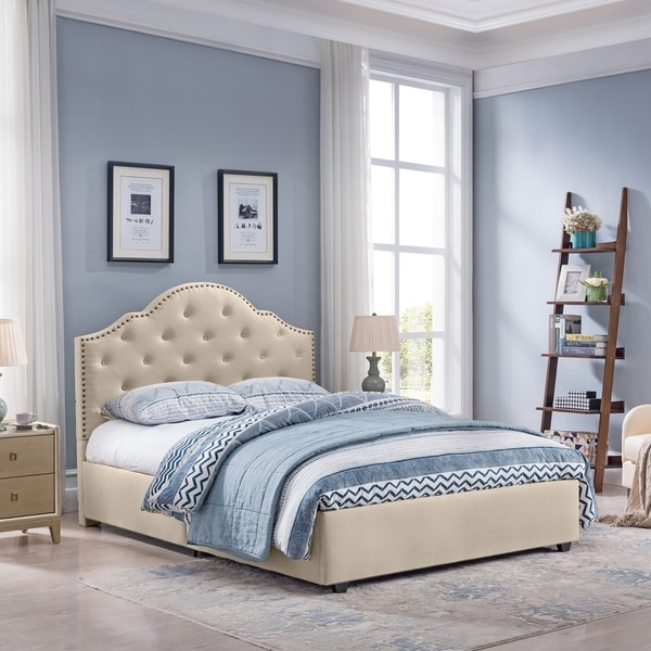 Cordeaux Queen-Size Bed Frame Fully-Upholstered Button-Tufted by Christopher Knight Home. Opens flyout.