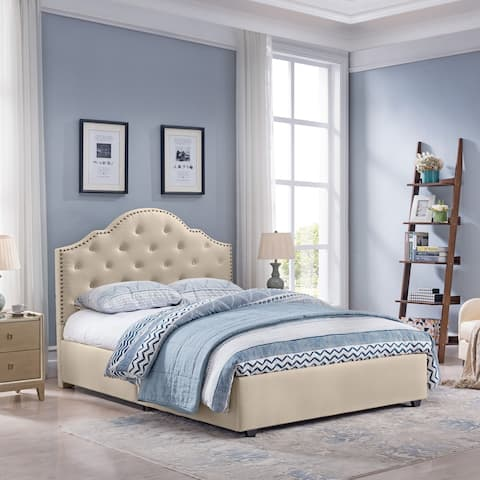 Cordeaux Queen-Size Bed Frame Fully-Upholstered Button-Tufted by Christopher Knight Home