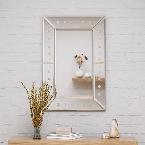 "Maddock Modern Glam 36"" by 24"" Rectangular Wall Mirror by Christopher Knight Home - Silver"