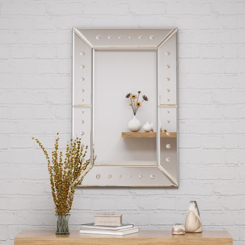 """Maddock Modern Glam 36"""" by 24"""" Rectangular Wall Mirror by Christopher Knight Home - Silver - N/A"""