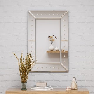"""Maddock Modern Glam 36"""" by 24"""" Rectangular Wall Mirror by Christopher Knight Home - Silver"""