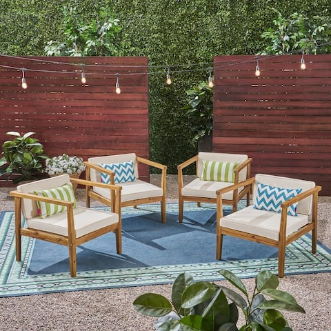 Newbury Outdoor Acacia Wood Club Chairs with Water-Resistant Cushions (Set of 4) by Christopher Knight Home