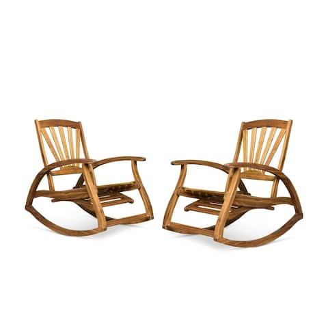 Sunview Outdoor Rustic Acacia Wood Recliner Rocking Chairs (Set of 2) by Christopher Knight Home