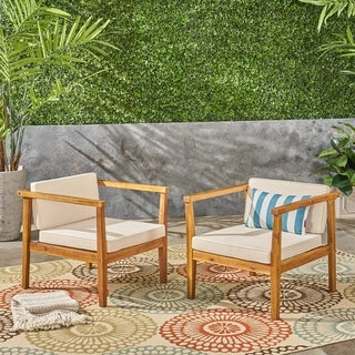 Newbury Outdoor Acacia Wood Club Chairs with Cushions (Set of 2) by Christopher Knight Home