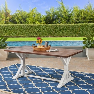 Cassia Outdoor Traditional Acacia Wood Table with Legs by Christopher Knight Home