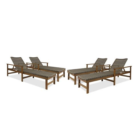 Hampton Outdoor Rustic Acacia Wood Chaise Lounge with Wicker Seating (Set of 4) by Christopher Knight Home