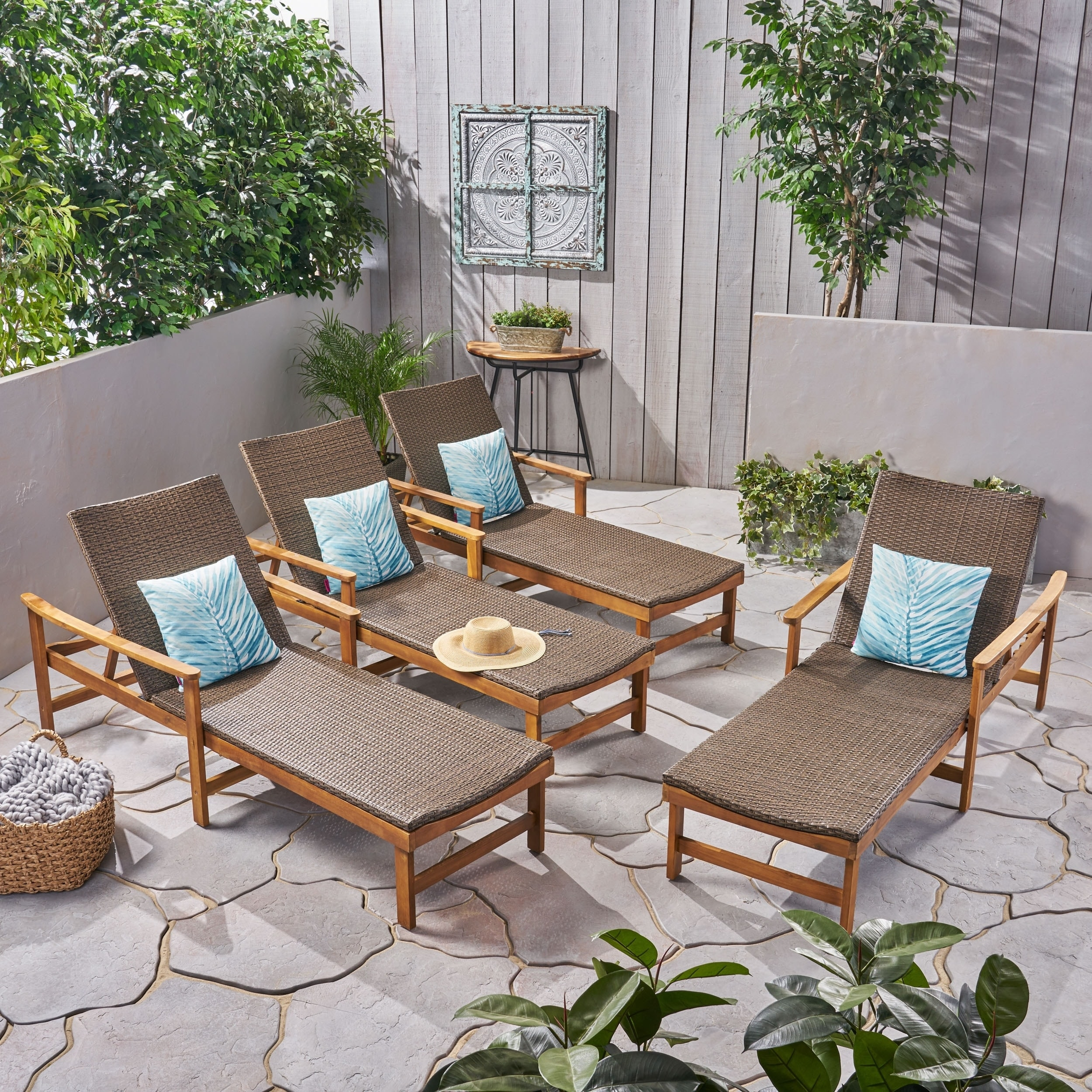 Hampton Outdoor Rustic Acacia Wood Chaise Lounges With Ebay