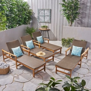 Hampton Outdoor Acacia Wood and Wicker Chaise Lounges(Set of 4) by Christopher Knight Home