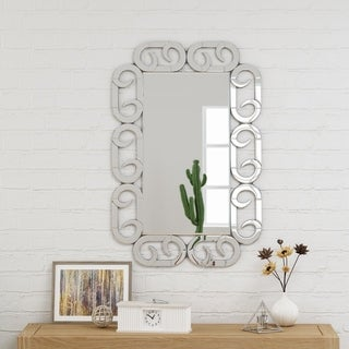 "Willandra Modern Glam 35.8"" by 24"" Rectangular Wall Mirror by Christopher Knight Home - Silver"