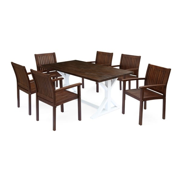 Cassia Outdoor Rustic Farmhouse Acacia Wood 7 Piece Dining Set by Christopher Knight Home