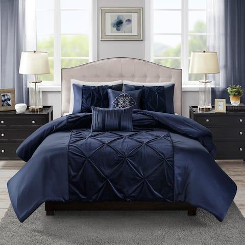 Madison Park Delora Faux Velvet 5 Piece Comforter Set 2-Color Option