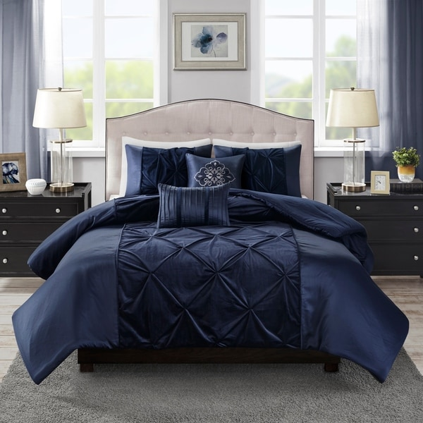 Madison Park Delora Faux Velvet 5 Piece Duvet Cover Set 2-Color Option