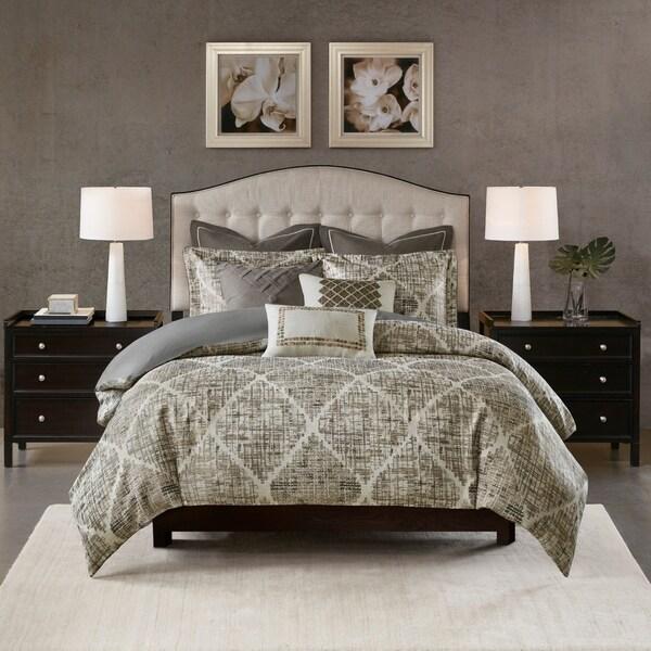 Madison Park Signature Plateau Dark Gray Jacquard Comforter Set