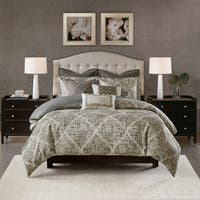 Madison Park Signature Plateau Dark Gray Jacquard Comforter Set