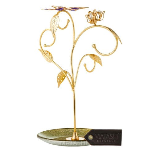 Matashi Rose Gold and Chrome Plated Jewelry Stand Elegant Floral and Butterfly Design Home Jewelry Decorative Stand