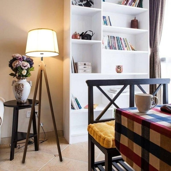 Shop Modern Bedroom Wood Warm Led Tripod Shade Floor Lamp