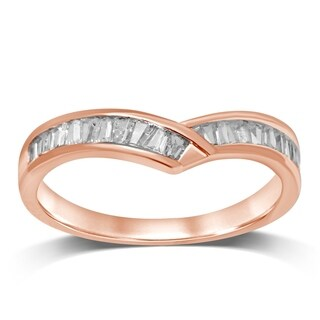 Size-8.5 1//8 cttw, Diamond Wedding Band in 14K Pink Gold G-H,I2-I3