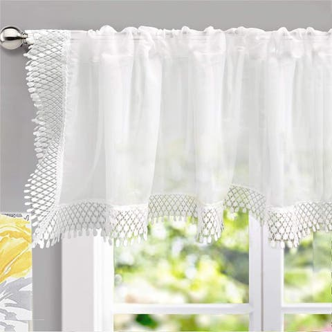 DrfitAway Ava Lace/Crochet Trim Voile Chiffon Sheer Window Valance
