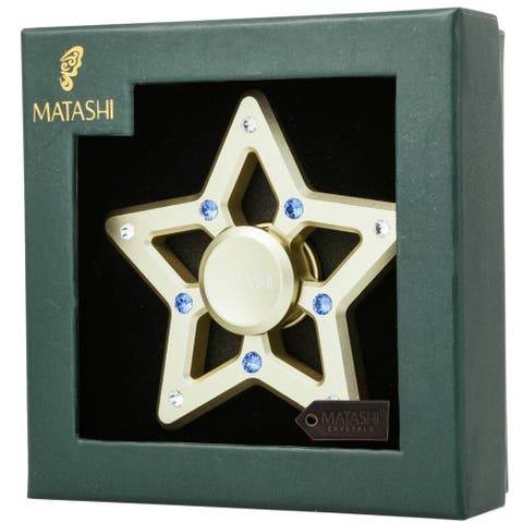 "2.5"" Plated Star Spinner Christmas Ornament w/ Matashi Crystals"