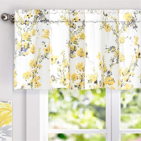 DriftAway Blossom Abstract Floral Ink Painting Window Valance