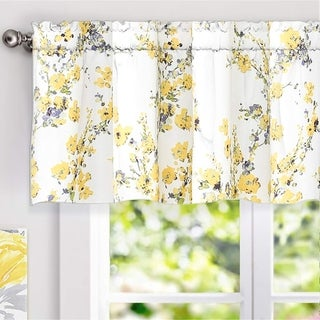 DriftAway Blossom Abstract Floral Ink Painting Lined Window Valance