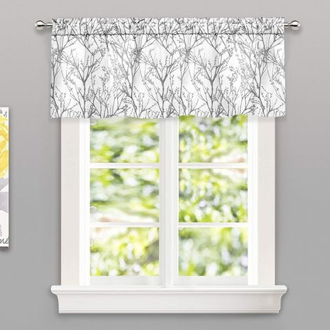 DriftAway Tree Branch Botanic Pattern Lined Window Curtain Valance