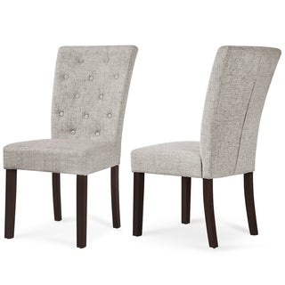 Merax Set of 2 Fabric Dining Chairs with Solid Wood Legs