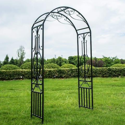 Kinbor Outdoor Metal Garden Arch Garden Arbour For Climbing Plant 7'3 High x 3'11 Wide