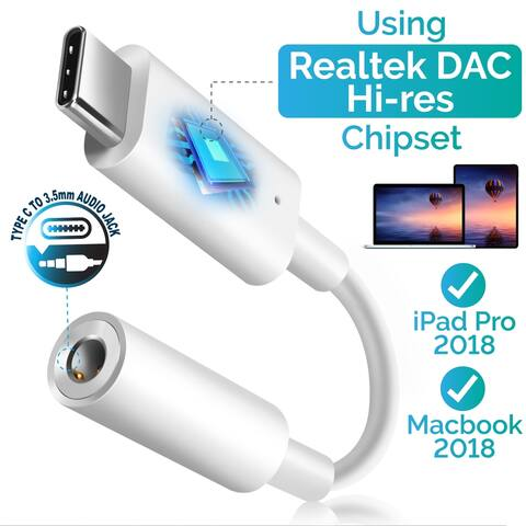 """Insten USB-C Type-C to 3.5mm Headphone Adapter Stereo Audio Aux Connector for iPad Pro 11"""" 12.9""""/ Google Pixel 2 XL"""