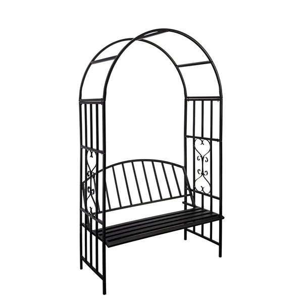 Garden Rose Arch Arbours Climbing Plants with Bench Chair Seat Metal Durable New