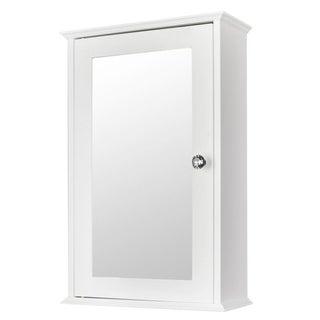 1/2-Door Modern Wood Bathroom Storage Wall Cabinet w/ Mirror
