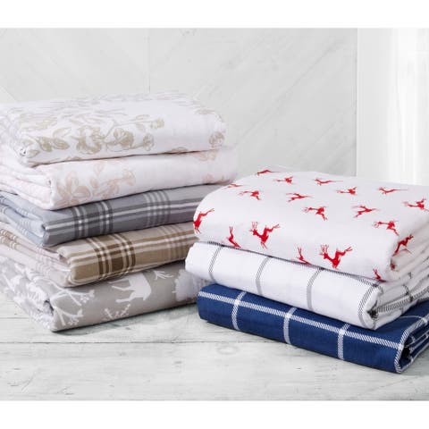 Great Bay Home Extra Soft 100% Turkish Cotton Flannel Printed Bed Sheet Set