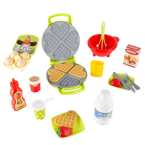 Kids Toy Waffle Iron Set with Music and Lights- Fun Pretend Play Waffle Making by Hey! Play! - Green