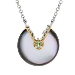 Michael Valitutti Palladium Silver Special Cut Peacock Mother-of-Pearl & Peridot Necklace